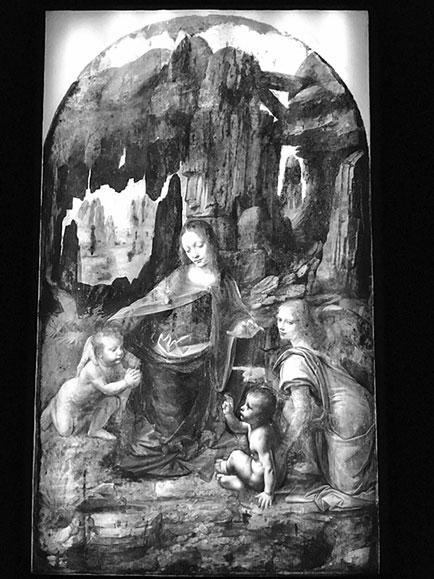 李安納度·達·文西的作品《岩間聖母》(Virgin of the Rocks),1483~1494年。油彩,畫板(描摹至畫布), 199 x 122 公分,法國巴黎羅浮宮。