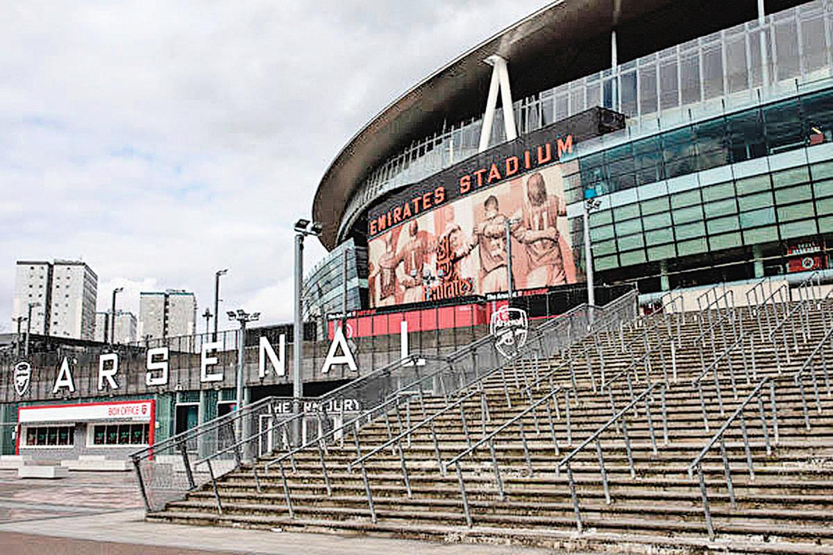 2020年3月13日,英格蘭足球超級聯賽官方宣佈,因受疫情影響,英超聯賽暫停至4月3日。圖為阿仙奴足球俱樂部的主場酋長球場外景。(Photo by Dan Kitwood/Getty Images)