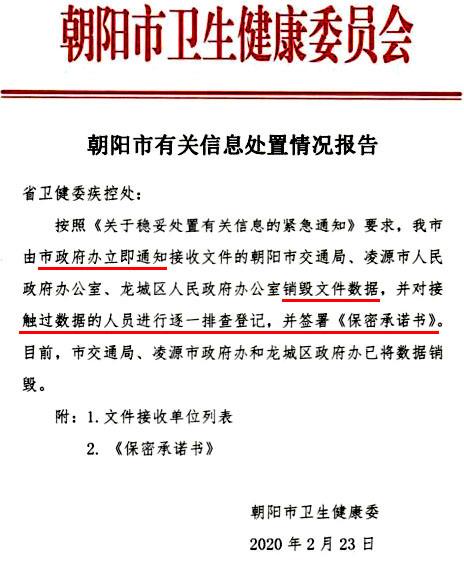 圖2:中共政府下令銷毀疫情數據的文件截圖(圖:遼寧省朝陽市)