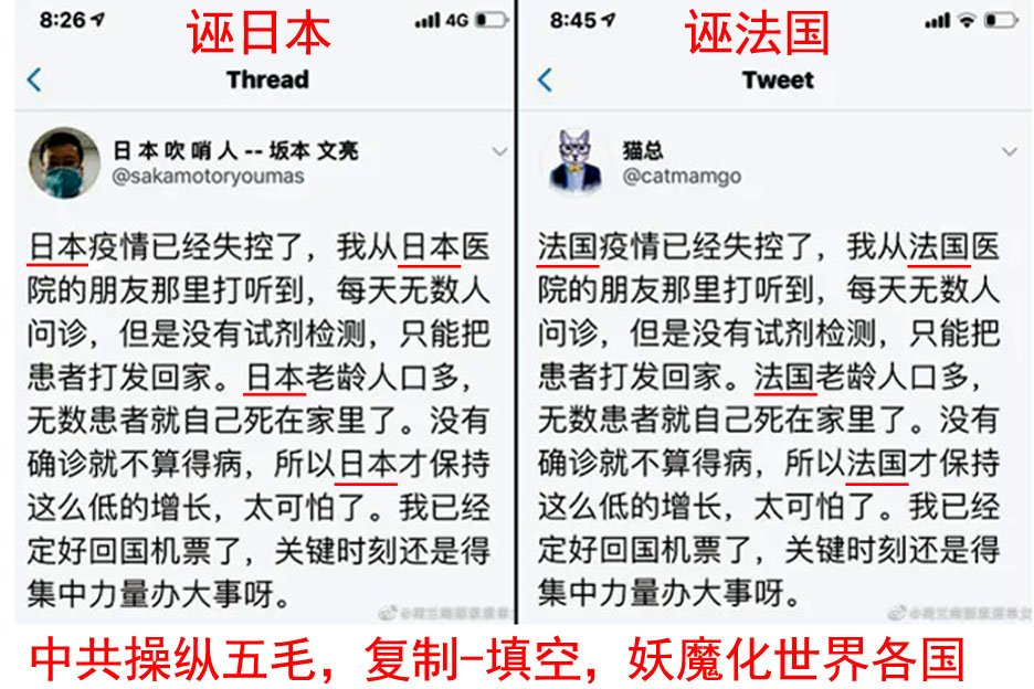 圖5:海外自媒體上,集中搜索到大量雷同的謠言,被揭露為中共五毛的統一行動,禍亂各國(圖:Twitter截圖)