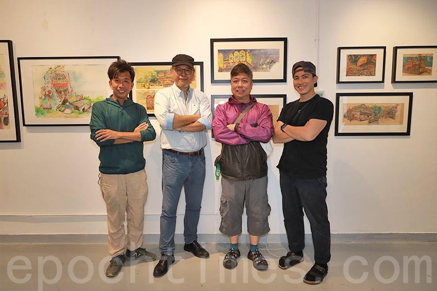 張學敏(左二)成為本地寫生團體「畫下嘢」的核心成員之一,參加過七、八十次寫生活動,走訪香港不同的角落。(陳仲明/大紀元)