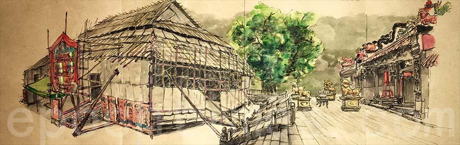 2018年的長洲北帝誕戲棚,是張學敏畫的第一座戲棚,自此開啟了他的繪畫戲棚之旅。(受訪者提供)
