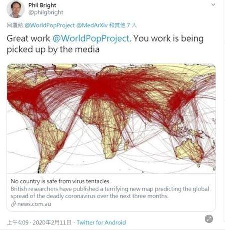 英國南漢普頓大學Worldpop研究團隊2020年2月中旬的大數據分析結果,與歐美當前的疫情發展情況高度吻合。(圖片來源:推特)