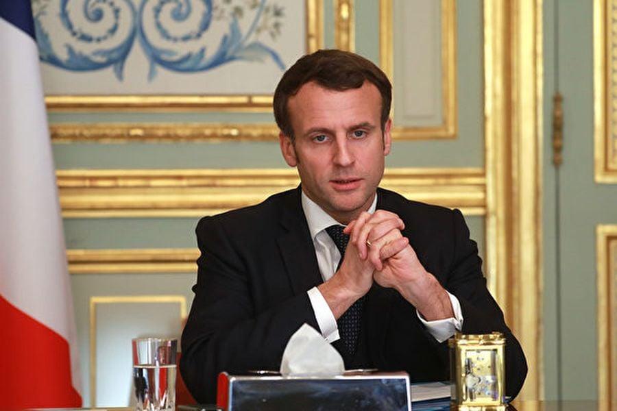 法國總統埃曼紐爾・馬克龍(Emmanuel Macron)參加中共病毒抗疫相關會議。攝於2020年3月24日。(Ludovic MARIN/POOL/AFP)