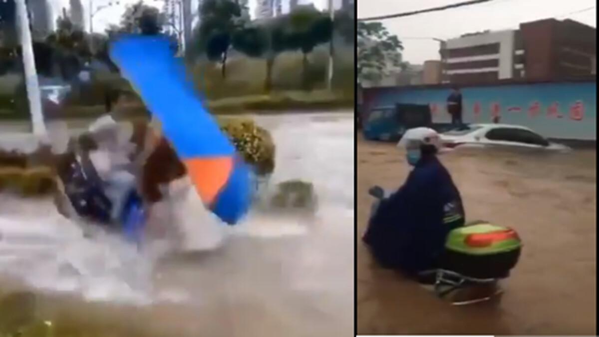 整座城市如汪洋,行駛中的汽車、行人都浸泡在深水中,不少電單車仍在水中行駛,如同摩托艇一般。(影片截圖)