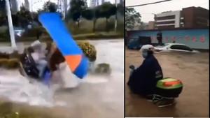 廣西南寧狂風暴雨 摩托水中飄