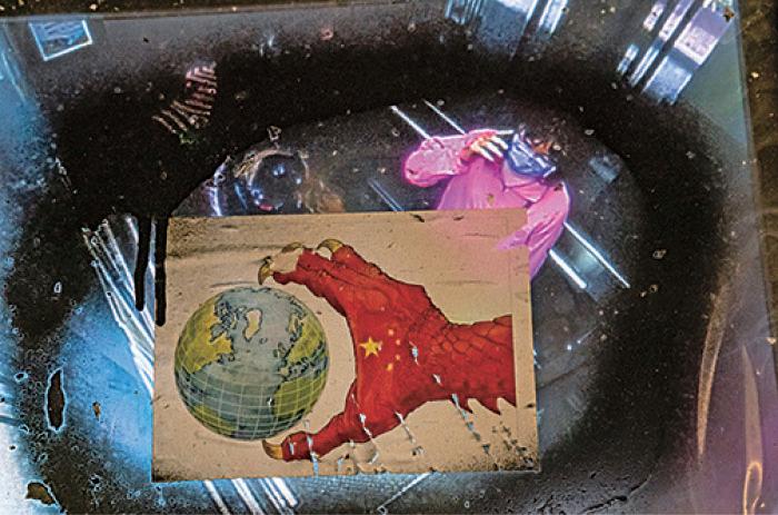 本港一幅中共病毒街頭藝術畫作。(Anthony Kwan/Getty Images)