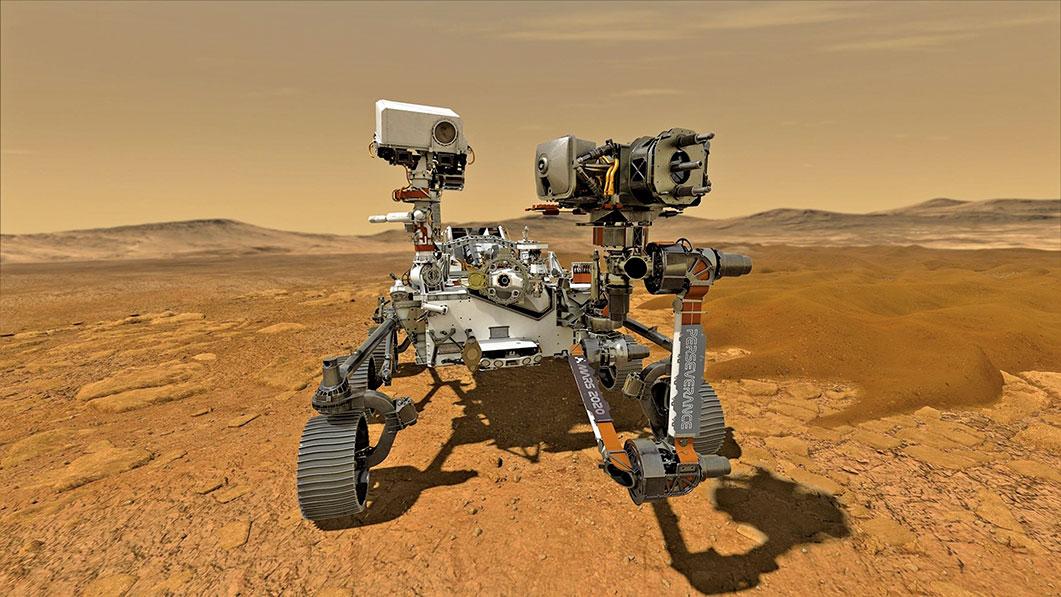 未來新型火星探測車示意圖。(NASA)