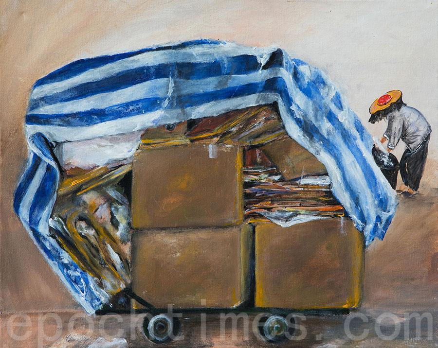 Agnes畫筆下收紙皮的婆婆,她覺得婆婆十分值得尊敬。(受訪者提供)