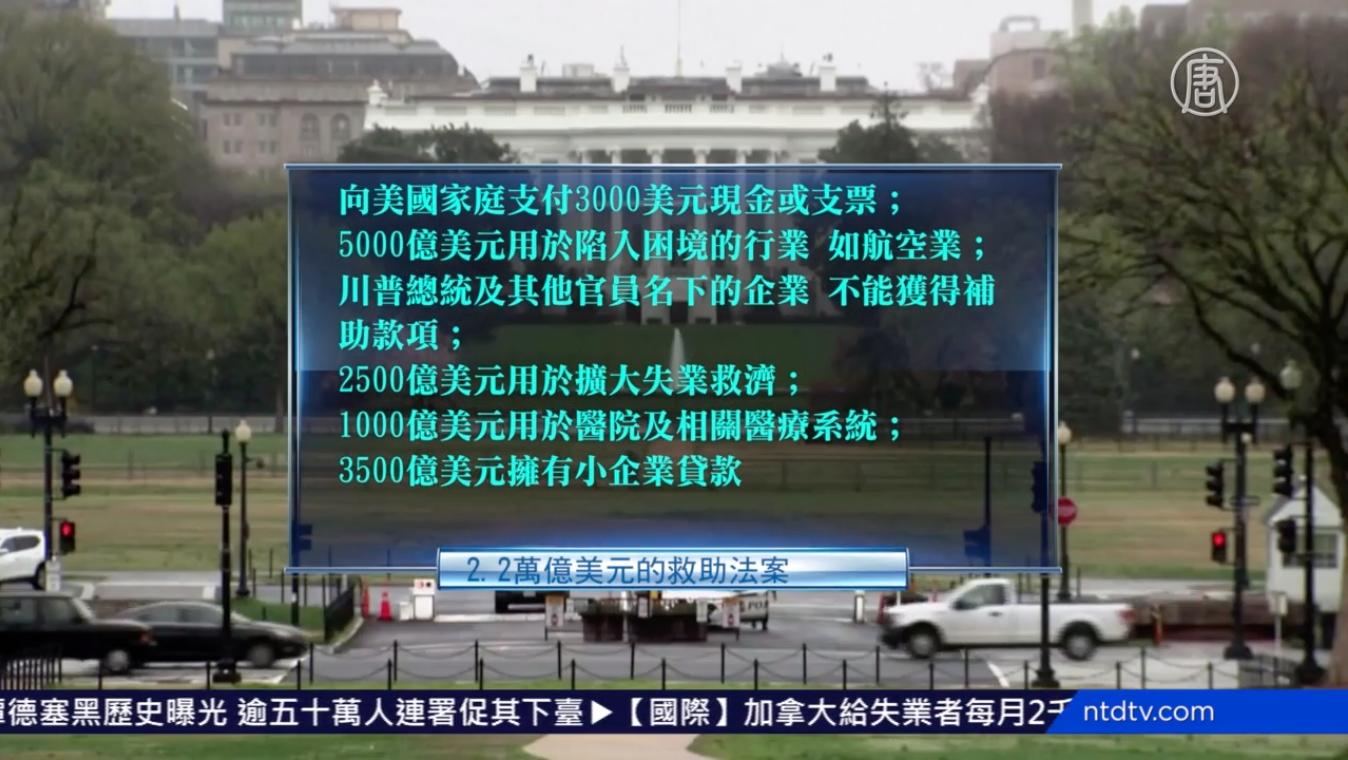 這次2萬億美元緊急救援款項的分配。(NTDTV影片截圖)