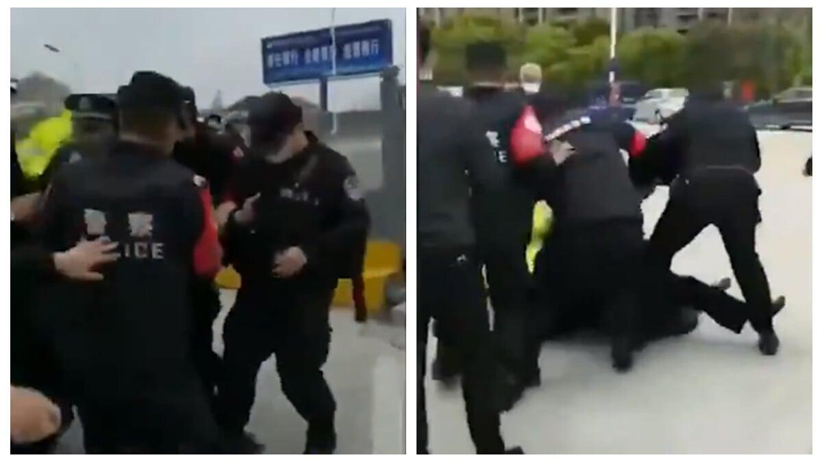 3月27日,江西九江公安與湖北小江鎮警察,也因復工問題發生嚴重衝突,甚至大打出手,引發關注。(影片截圖)