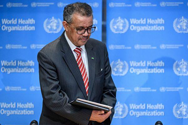 (WHO)袒護中共,掩蓋疫情,釀成全球性大災難。日前,已有56萬人聯署,要求世衛秘書長譚德塞(Tedros Adhanom Ghebreyesus)下台。 (FABRICE COFFRINI/AFP via Getty Images)
