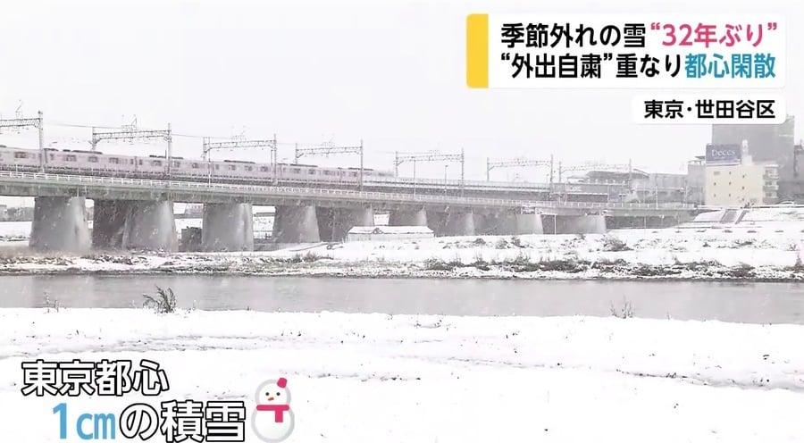 東京罕降大雪 禁足令東京變空城
