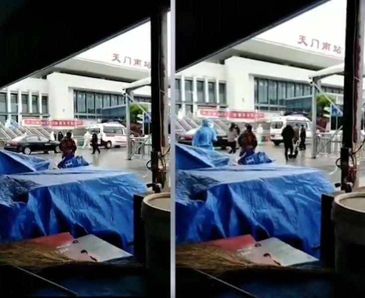 【現場影片】湖北天門南站現重症病人