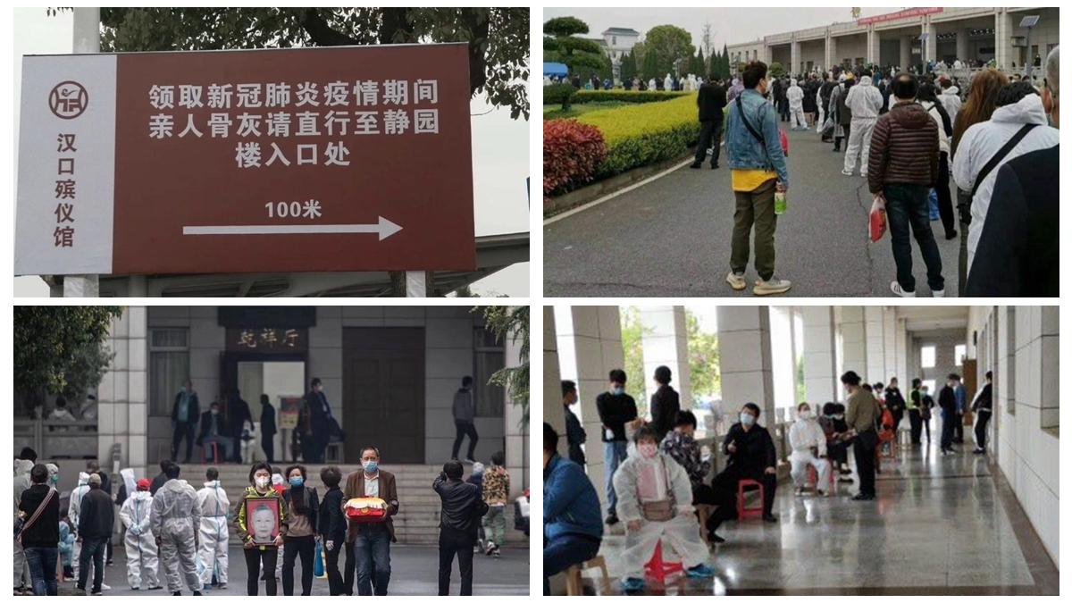 有武漢居民爆料,武漢殯儀館這幾天每天都這樣排長龍。(影片截圖)