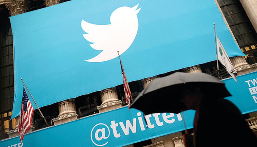 2013年11月,紐約證券交易所外面橫幅上的推特標記。(AFP)