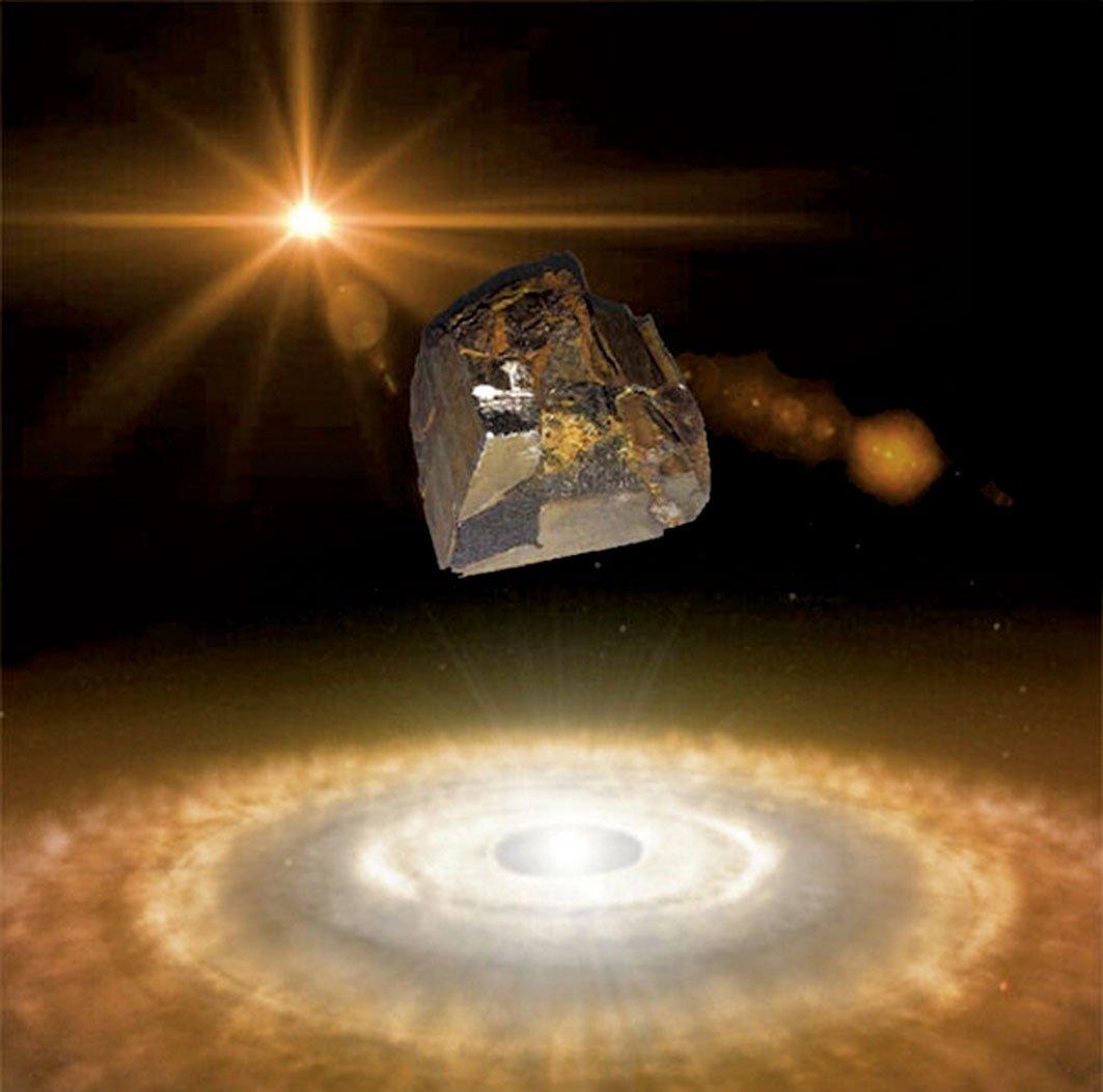 來自彗星和小行星的隕石示意圖。(James Wampler,UC San Diego,ESO)