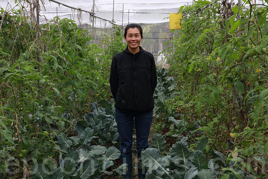 在馬屎埔村長大的區晞旻(Becky),是馬寶寶社區農場的負責人。(陳仲明/大紀元)