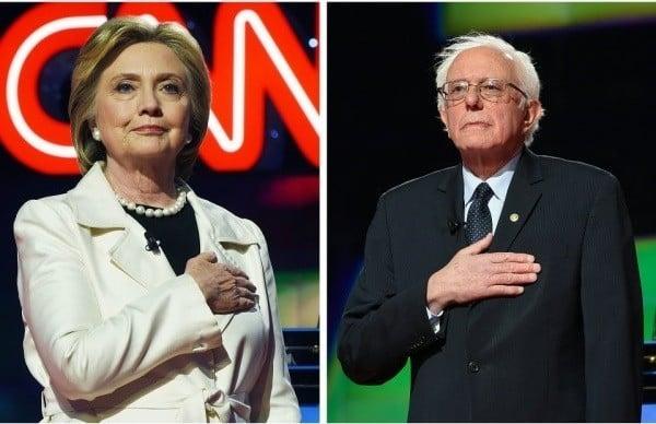 希拉莉(圖左)與初選時的對手桑德斯(圖右)。(JEWEL SAMAD/AFP/Getty Images)