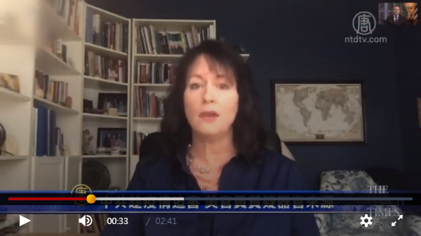美國宗教自由委員會副主席瑪安佐,2020年3月31日在大紀元上表示,美國政府正觀察,中國信仰群體在疫情下的人權,擔憂中共活摘法輪功學員器官或良心犯等的器官,進行雙肺移植。(影片截圖)