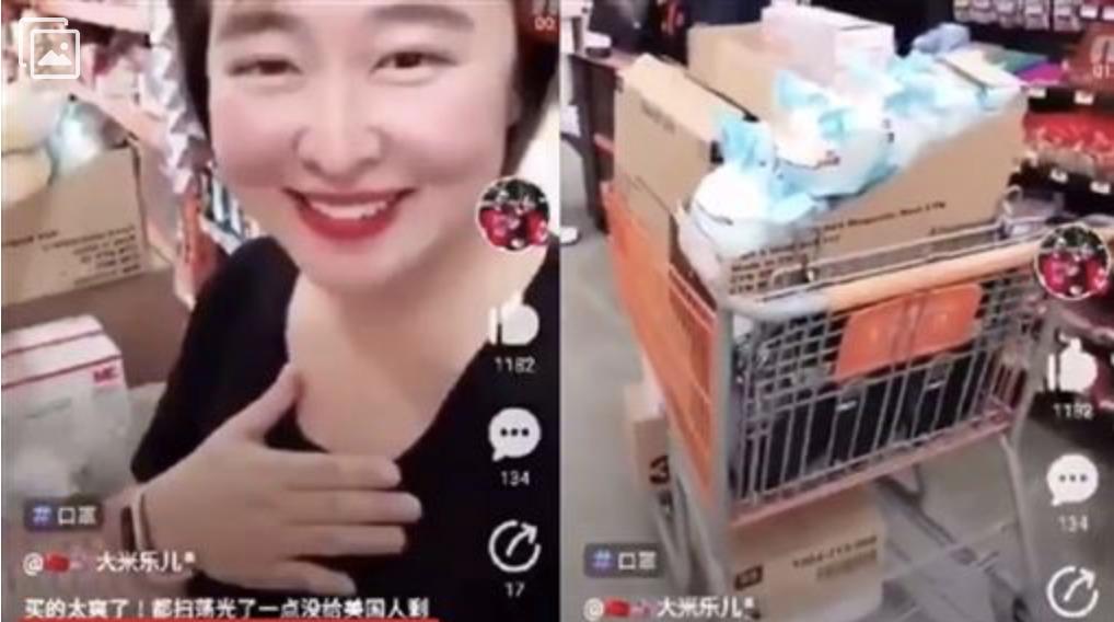 網絡爆出有一名中國大媽在美國佛羅里達超市狂掃3M口罩的影片,還猖狂的說「一點都不給美國人留」,盡顯自私心態。(推特圖片)