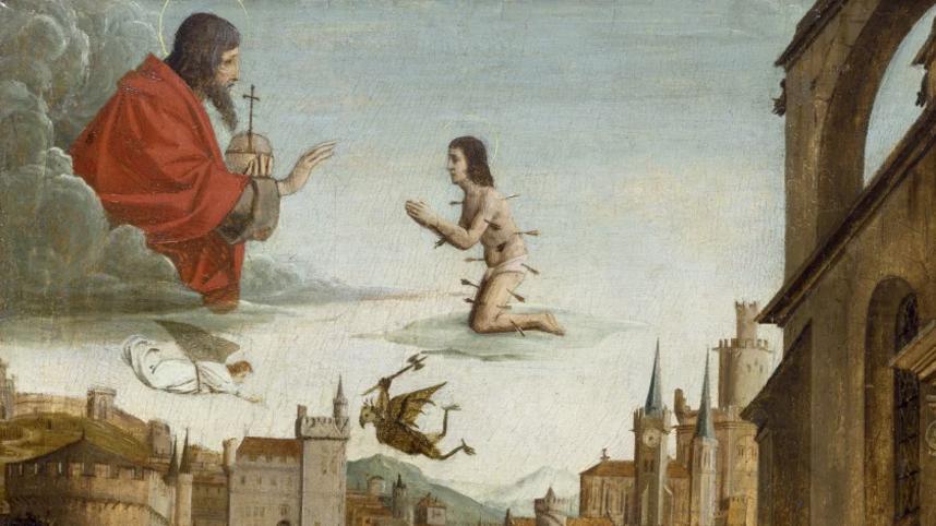 《聖塞巴斯蒂安代瘟疫災區向神祈禱》(圖片:荷蘭畫家Josse Lieferinxe 1497年畫作)
