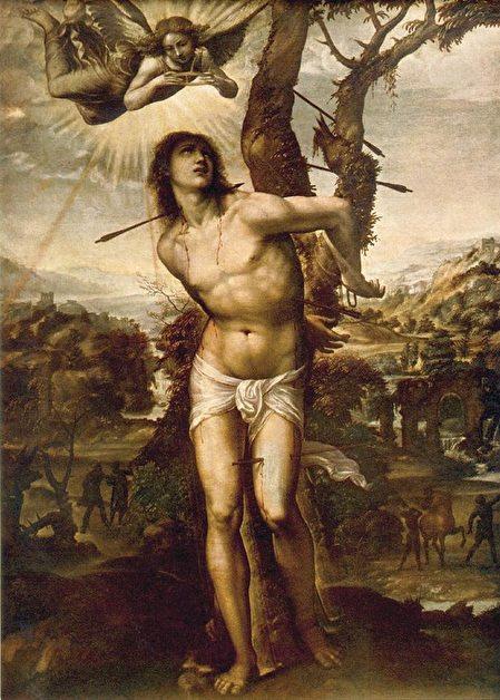 意大利畫家Giovanni Antonio Bazzi的作品,描繪的是聖塞巴斯蒂安被箭射傷。(圖片:維基)