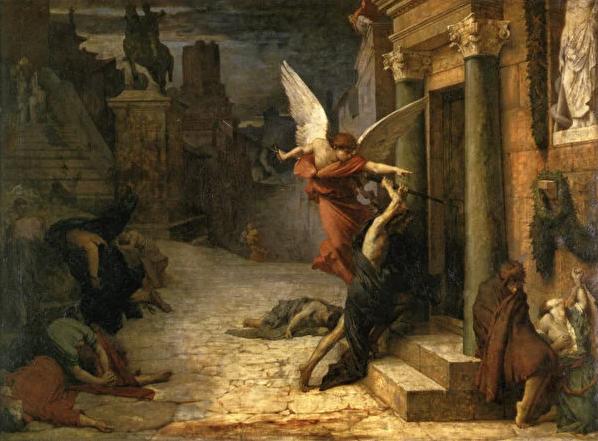 [法]居勒-埃裏‧德洛內(Jules Elie Delaunay)《被瘟疫侵襲的羅馬城》(Peste a Rome)作於1869年。(圖片:巴黎奧塞美術館藏/藝術復興中心提供)