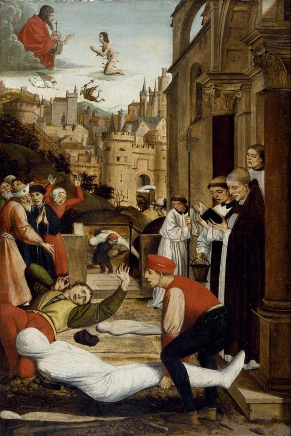 [尼德蘭]若斯‧列菲林西(Josse Lieferinxe),《聖塞巴斯蒂安代瘟疫災區向神祈禱》(Saint Sebastian Interceding for the Plague Stricken),1497年作,美國巴爾的摩市沃爾特斯藝術博物館藏。(圖片:維基)