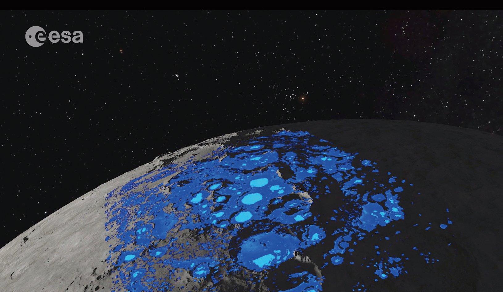 月球水資源分佈示意圖。(ESA)