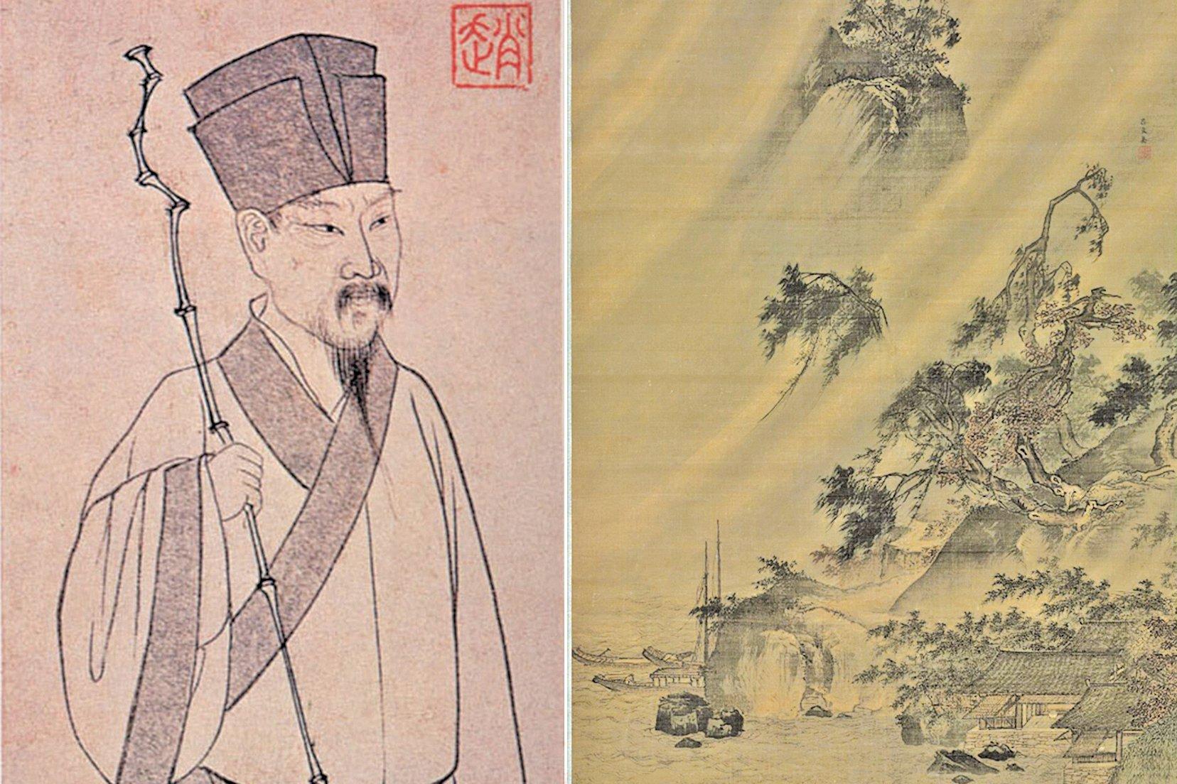 蘇軾像(左)和《江村風雨圖》局部(右)(公有領域/大紀元合成)