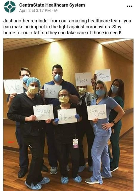 中心醫院提醒鎮上居民都待在家裏。(CentraState Hospital面書)