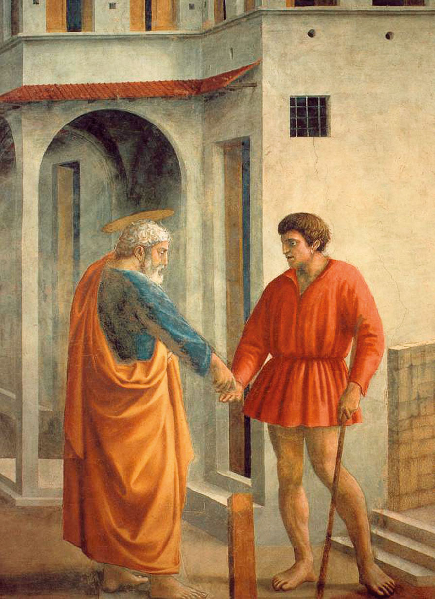 馬薩其奧在佛羅倫斯Santa Maria del Carmine教堂所畫《聖彼得生平壁畫》。(Lampman/Wikimedia commons)