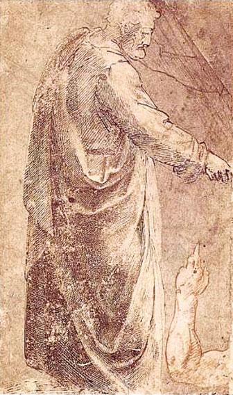 米開朗基羅臨摹馬薩其奧壁畫的素描。(Sailko/Wikimedia commons)