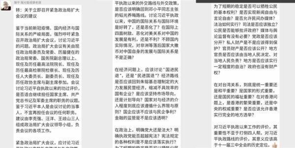 紅二代陳平轉發的《建議書》。(網絡截圖)