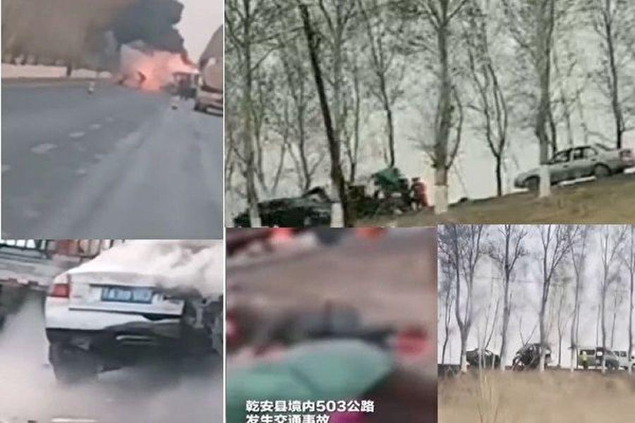 2020年4月15日清晨5時30分,乾安縣境內503公路286公里處發生交通事故,導致11人死亡,5人受傷。(影片截圖合成)