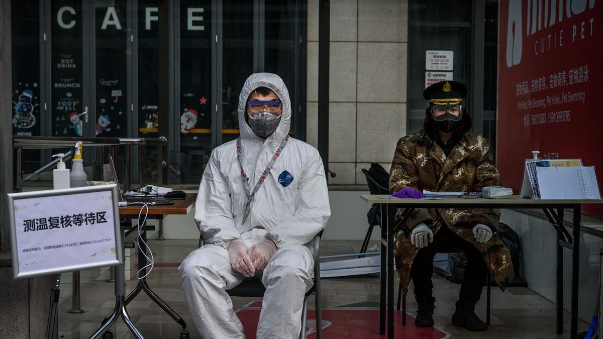 網傳河北省邢台市兩個縣緊急封城。上圖為小區封閉式管理示意圖。(Kevin Frayer/Getty Images)