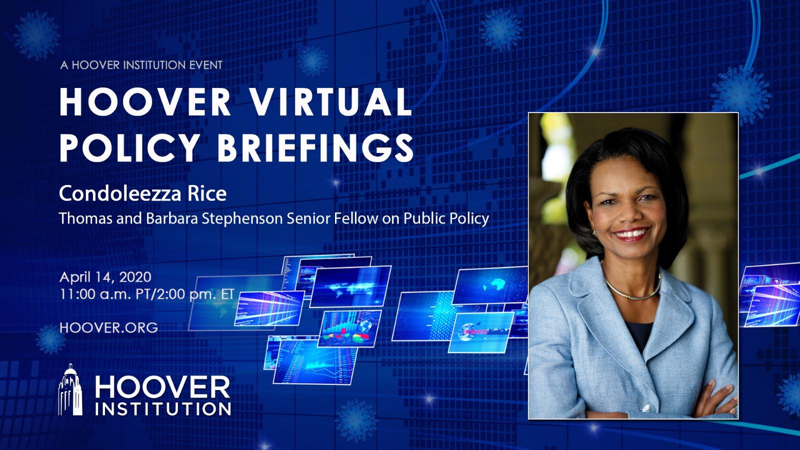 4月14日,美國前國務卿賴斯出席智庫胡佛研究所的政策簡報會議,回答觀眾有關COVID-19(中共病毒)與國家安全政策的問題。她表示,中共隱瞞疫情信息是反復出現的模式。(影片截圖)