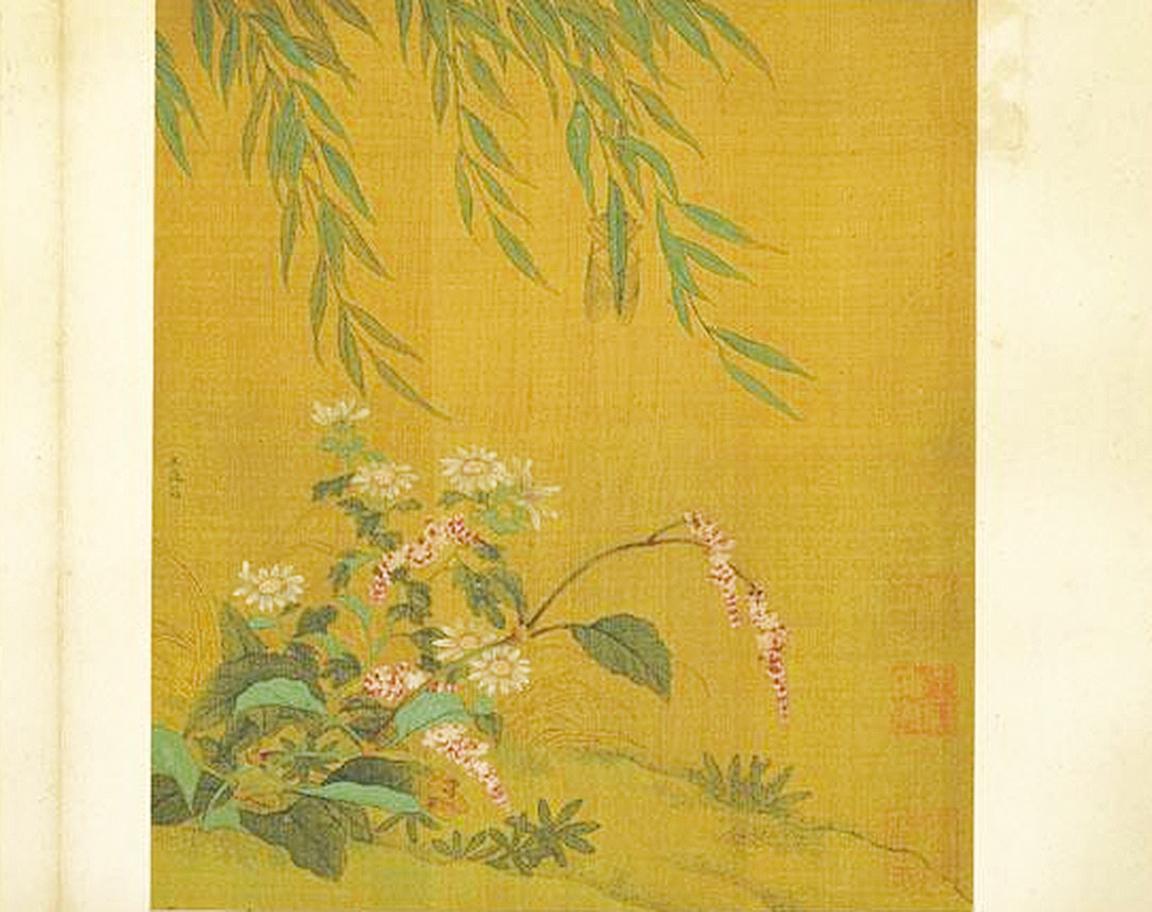 圖為金‧王庭筠《柳蟬紅蓼》,現藏台北故宮博物院(公有領域)
