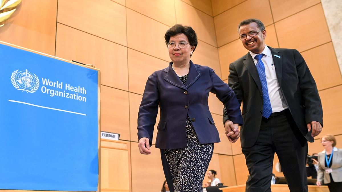 譚德塞於2017年接替陳馮富珍,拿下世衛秘書長秘書長一職。(FABRICE COFFRINI/AFP via Getty Images)