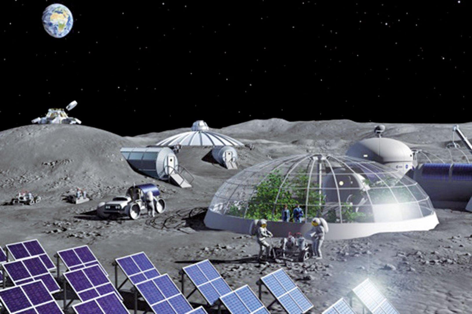 月球基地示意圖。(ESA)