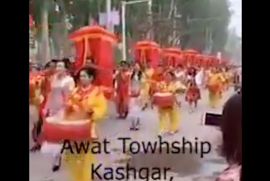 2020年4月,漢式集體婚禮,在新疆被推行。(推特影片截圖)