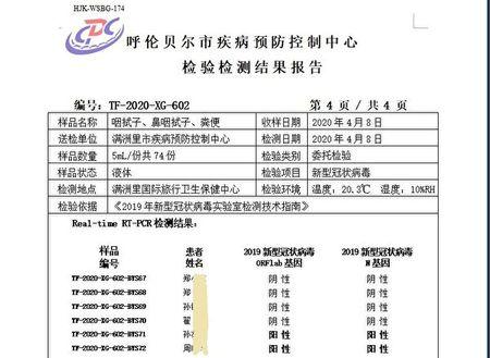滿洲里海關檢測文件顯示,4月8日,113個入境人員樣本(111人)被驗出10個陽性,核酸檢測陽性率9%。圖為當天部份檢測結果截圖。(大紀元)