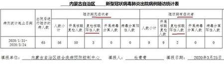 《內蒙古自治區新型冠狀病毒(中共病毒)肺炎出院病例隨訪統計表》顯示,中共病毒患者在內蒙古的復陽率高達8.5%。(大紀元)