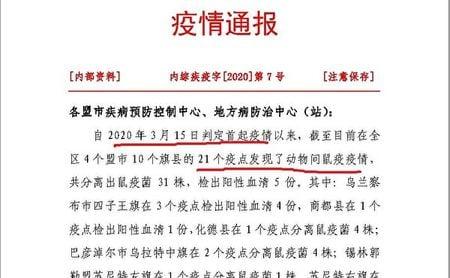 內蒙古疾控中心4月13日發佈鼠疫《疫情通報》。(大紀元)
