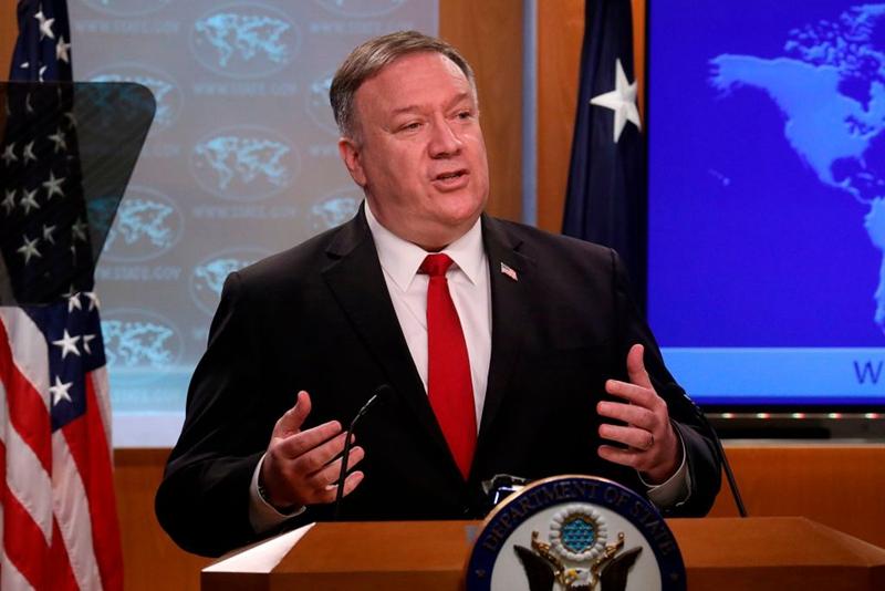 4月19日,美國國務卿蓬佩奧譴責港府抓捕民主人士不符合中英聯合聲明承諾。示意圖(Photo by LEAH MILLIS/POOL/AFP via Getty Images)。;
