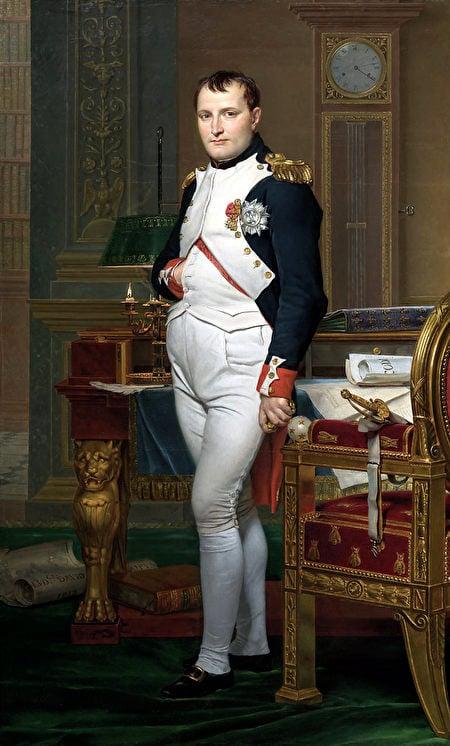 〈拿破崙皇帝於杜伊勒里宮書房〉,雅克-路易・大衛作於1812年。(公有領域)