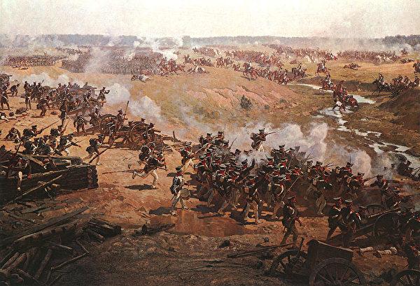 拿破崙手下的將軍南索蒂率領騎兵隊進攻俄國擲彈兵,烏克蘭畫家Franz Alekseevitch Rubo作於1912年。(公有領域)