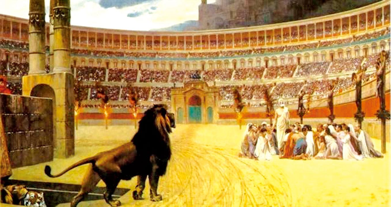 《基督殉道者最後的祈禱》(The Christian Martyrs Last Prayer),法國著名畫家熱羅姆 (Jean Leon Gerome)繪於1883年。現藏於美國巴爾的摩沃爾特斯藝術博物館(Walters Art Museum)。(公有領域)