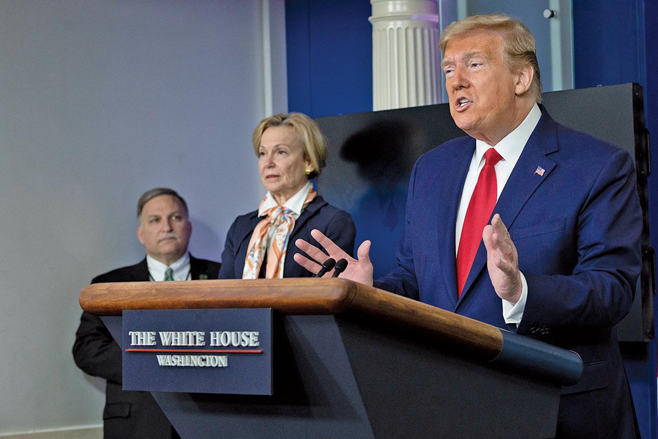 4月18日,美國總統特朗普在白宮疫情記者會上說,若中共故意隱瞞疫情,一開始就知道疫情真實情況,卻沒有分享給世界的話,將面臨後果,以後再看。(AFP)
